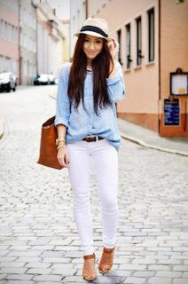 5白パンツ×ダンガリーシャツ×ハット