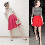 フレアスカート(赤)のコーデ!人気の赤フレアスカートを紹介!