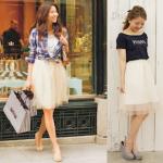 チュールスカート(白)のコーデ!人気の白チュールスカートを紹介!