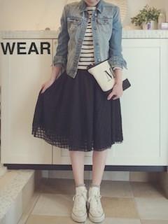 3黒フレアスカート×Gジャン×ボーダーTシャツ
