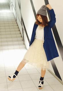 9チュールスカート×白トップス×テーラードジャケト
