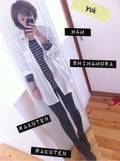 9白のシャツ×ボーダーTシャツ×黒レギパン