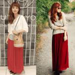 ロング・マキシ丈のスカート(赤)のコーデ!人気の赤のロング・マキシスカートを紹介!