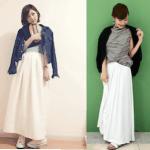 ロング・マキシ丈のスカート(白)のコーデ!人気の白のロング・マキシスカートを紹介!
