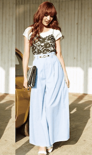 3白Tシャツ×黒キャミ×マキシスカート