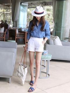 8白シャツ×デニムシャツ