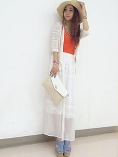 9白マキシ丈スカート×白レースカーディガン