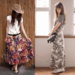 ロング・マキシ丈のスカート(柄物)のコーデ!人気の柄物のロング・マキシスカートを紹介!