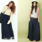 ロング・マキシ丈のスカート(ネイビー)のコーデ!人気のネイビーのロング・マキシスカートを紹介!