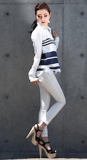 10ボーダーシャツ×白デニム