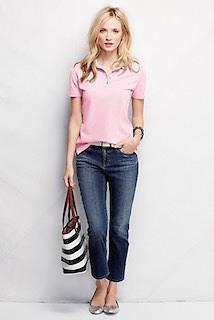 2ピンクのポロシャツ×デニムパンツ×ボーダートートバッグ