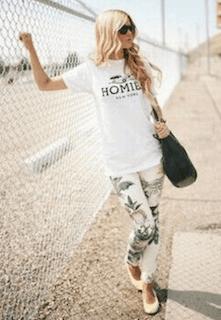 5白Tシャツ×柄レギンス