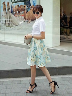 1夏ポロシャツ×花柄フレアスカート