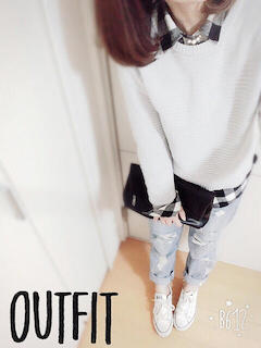 8白ニット・セーター×チェックシャツ×ビィンテージジーンズ