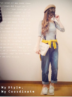 4黄色のカーディガン×ボーダーTシャツ×ボーイフレンドデニム