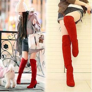 9赤のロングブーツ×モッズコート×デニムショートパンツ