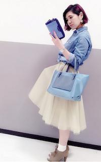 5ブーティ×靴下×デニムシャツ×チュールスカート