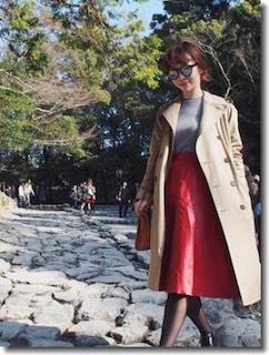 4ユニクロのトレンチコート×グレーニット×Aラインスカート