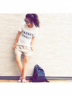 19タニティウェア×ヴィンテージTシャツ×ショートパンツ