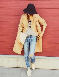 1ユニクロのスプリングコート×Tシャツ×ジーンズ