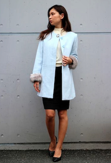 1ノーカラースプリングコート×プルオーバー×タイトスカート