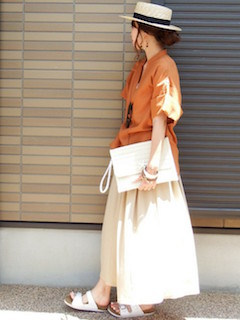 12スカーチョ×ビッグシャツ×カンカン帽子