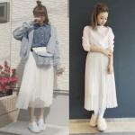 プリーツスカート(白)のコーデ!人気の白のプリーツスカートを紹介!