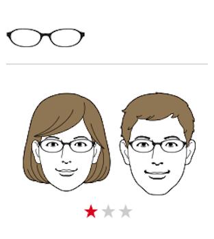 ●面長×丸メガネ