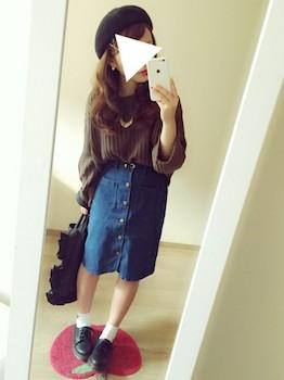 ボリューム袖ニット×デニムタイトスカート×紐靴
