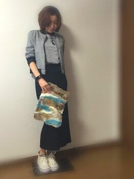 グレンチェック柄のアウター×ボートネックニット×ロングタイトスカート