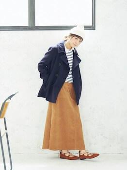 マキシスカート×ボーダーシャツ×Pコート