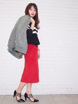 ロングMA1×セーター×タイトスカート