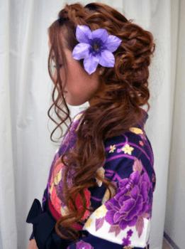 10卒業式で袴に合うトップねじりのロングの髪型