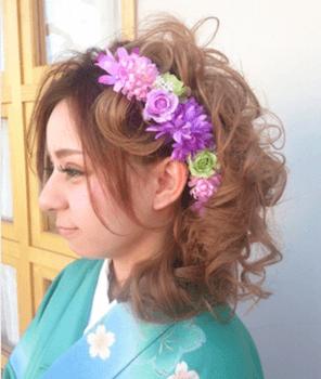 3卒業式で袴に合うくるりんカールのセミロングの髪型