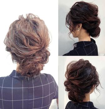 入学式でスーツに合うレディースのフワユルくるりんぱの髪型