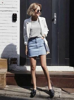 ジャケット×ボーダーTシャツ×ミニタイトスカート