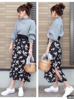 バルーンニット×花柄スカート×カゴバッグの春服コーデ