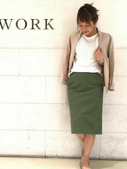 ジャケット×リブニット×ミモレ丈スカート