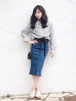 デニムスカート×カラーシャツ×厚底サンダル