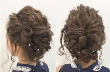 結婚式で人気のミディアムの編み込みリボンの髪型