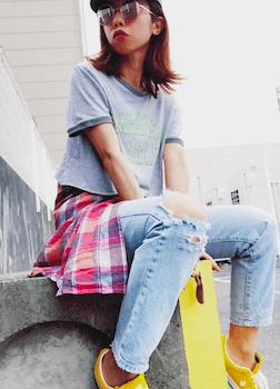 6リンガーTシャツ×チェックシャツ×ダメージジーンズ