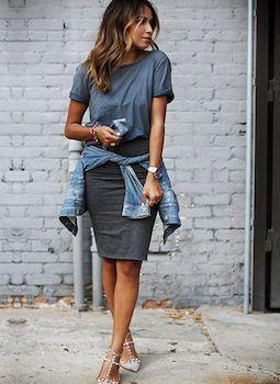 リンガーTシャツのレディースのコーデ方法2(大人キレイに着こなす)