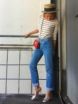 ミュール×ボーダーTシャツ×ジーンズ