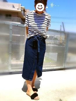 フリンジサンダル×ボーダーTシャツ×スリットスカート