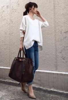 プルオーバーシャツ×デニムパンツ×ショルダーバッグ