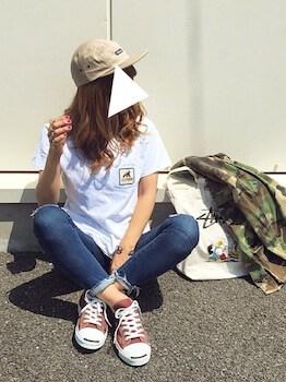 19キャンバストートバッグ×Tシャツ×ジーンズ