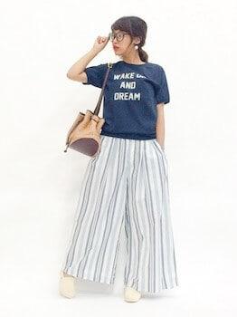 14スウェットTシャツ×スカーチョ×スリッポン