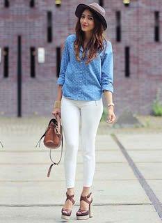 1白パンツ×ブルーシャツ×厚底サンダル