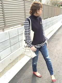 5タートルニットベスト×チェックシャツ×デニム