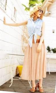 10デニムシャツ×シフォンスカート